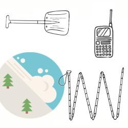 Лавинен КОМПЛЕКТ - сонда, лопата и трансивър под наем